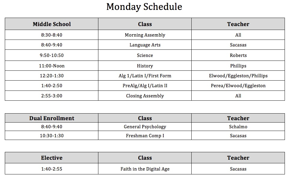 Monday Schedule Fall 2017